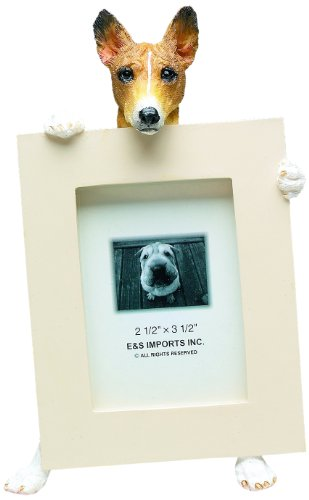 Basenji Picture Frame Holds Your Favorite 2.5 by 3.5 Inch Photo, Hand Painted Realistic Looking Basenji Stands 6 Inches Tall Holding Beautifully Crafted Frame, Unique and Special Basenji Gifts for Basenji Owners