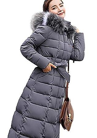 Aceshin Winterjacke Damen Lang Mantel Winter Jakce Schwarz Parka Jacke Winterparka Daunenjacke Outwear Fellkapuze