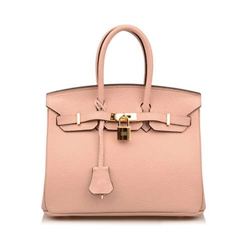 Bag Shoulder Hobo Ainifeel Nude Leather Pink 25cm Women's Genuine Padlock Handbag Hw0Xq18FxX
