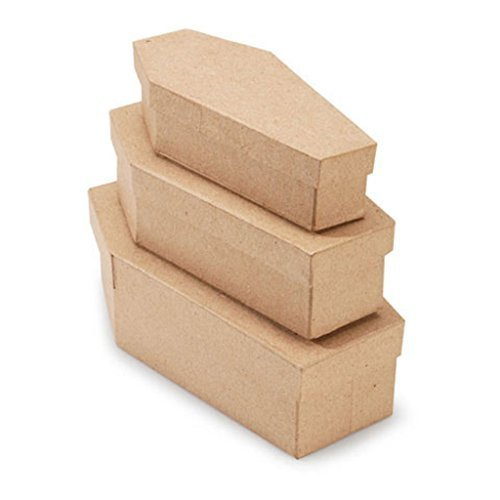 Darice Nesting Unfinished Paper Mache Coffin Boxes-3 Coffins, natural, 8 x 2-1/2 - 7-1/4 x 1-3/4 - 6-1/2 x 1-1/2 inches -