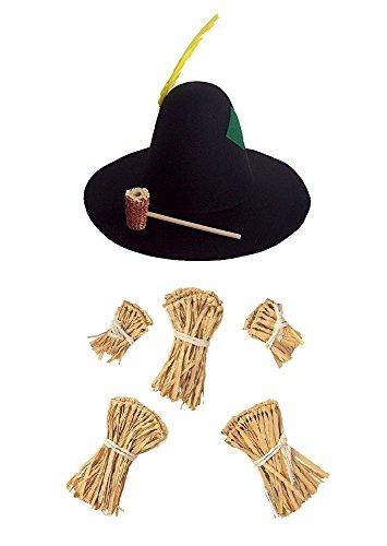 Hillbilly Scarecrow Hat Farmer Oktoberfest Straw Cuffs Wizard of Oz Costume Kit ()