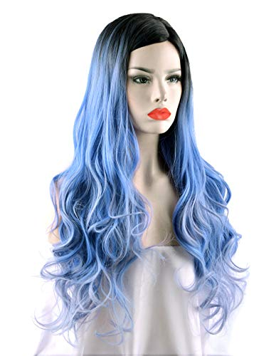 SEIKEA 30'' in Blue Long Curly Wig for Women Middle Part Cosplay Costume