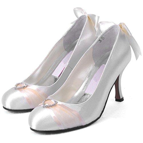 Donna Kevin Sposa Nastro Raso Pompa Silver Fashion Con Da Mz 592 Alto nbsp;tacco wYCrq6w