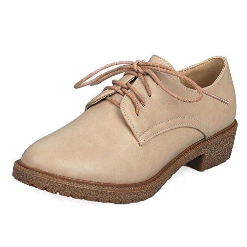 Zanpa Mujer Casual Zapatos Oxford Tacon Bajo Shoes Beige