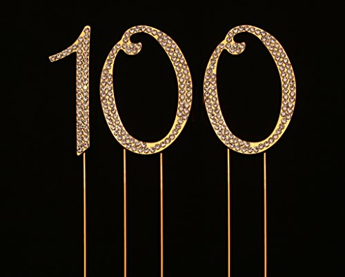 Numbrer 100 for 100th Birthday or Anniversary Cake Topper Party Decoration Supplies, Gold, 2.75 Inches Tall -