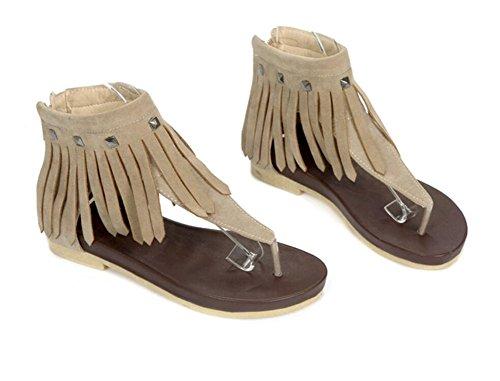 WEIQI-Women's Sandals/Summer/Clip-Toe/Tassel/Rivet/Flat 1CM, Comfortable, Maiden, Shopping/Working
