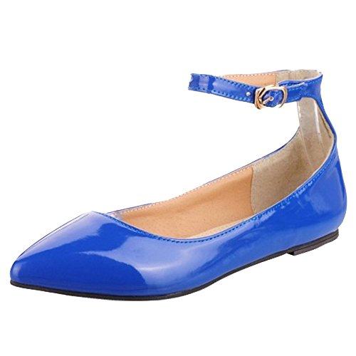 Blue TAOFFEN Fermé Femmes Bout Ballerines OxY6w6IqTA