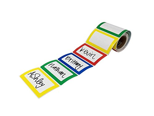 Shop4Mailers Colorful Bordered Name Tag Sticker Labels Rolls of 200 (1 Roll)