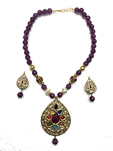 Intérieur Mogul femmes Collier Indian Jewelry Pendentif tourmaline Artisan foncé boucles d'oreilles 29,2cm Violet
