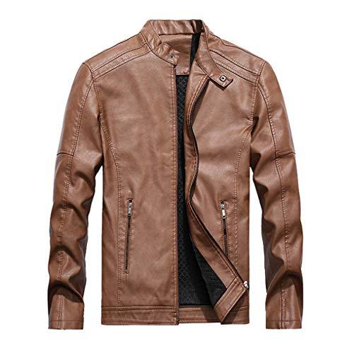 Jacket Girl Gixxer (Men Vintage Stand Collar Pu Leather Jacket Leather Motorcycle Moto Biker Jacket(Khaki Medium))