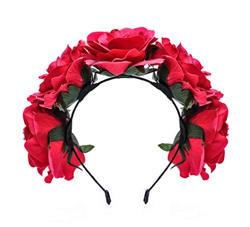 Love Fairy Vintage Rose Flower Headband Crown Hair Garland for Travel Wedding Party Festivals (Rose Red)