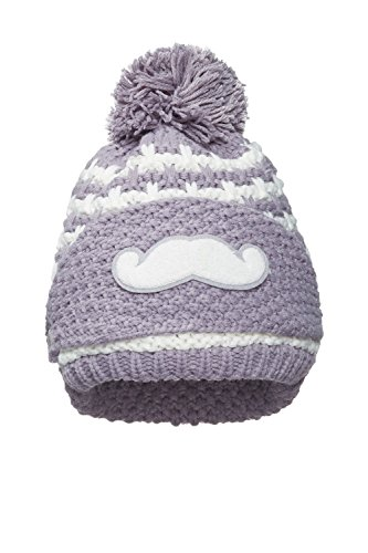 Nothing But Love Women Detachable Face Mask Beanie With Pom Pom Fleece Lined Knitted Hat Knitwear (Gray/White) (Damas Para Gorras)