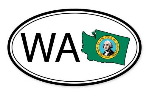 Washington State Flag Oval Vinyl Sticker - Car Phone Helmet - SELECT - St Washington 450
