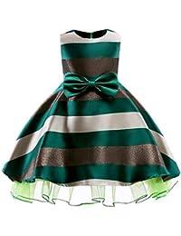 Little Girls Stripe Printed Bownot Princess Party Dress