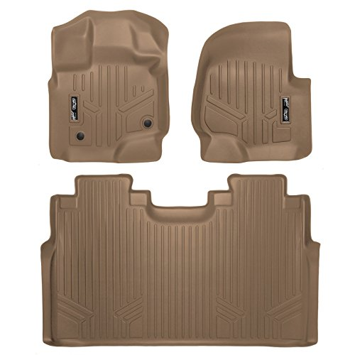 MAX LINER A1167/B1167 Custom Fit Floor Mats 2 Liner Set Tan for 2015-2019 Ford F-150 SuperCrew Cab with 1st Row Bucket Seats