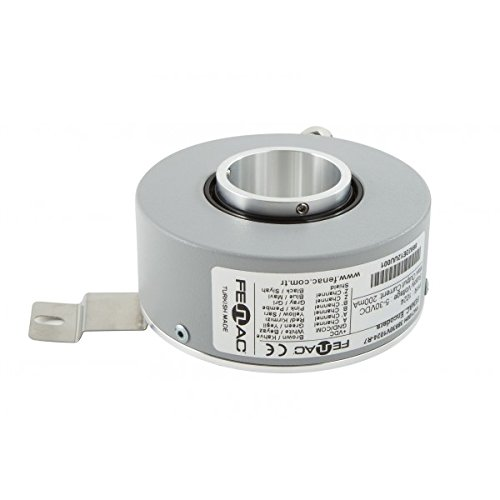 6 Channel 5000PPR Fenac FNC 100H 25630V5000-R2 Incremental Encoder 100mm Body Diameter 2m Cable 5-30V in//Out Through Hollow Shaft 25mm