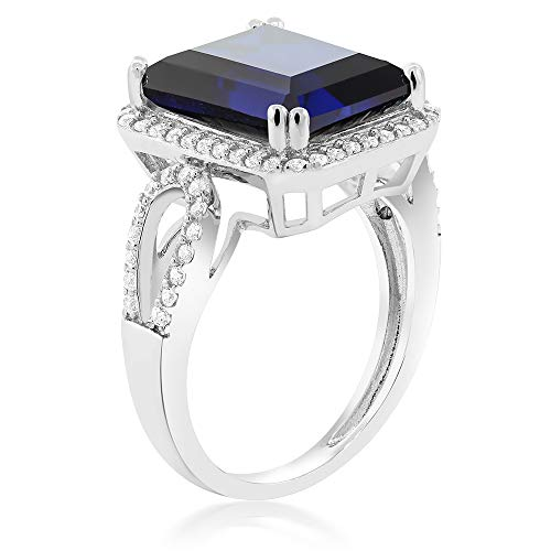 Gem Stone King Sterling Silver Simulated Sapphire Antique