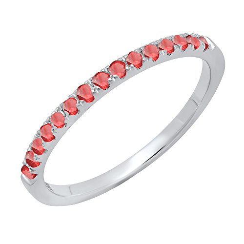 - 14K White Gold Round Ruby Ladies Bridal Stackable Wedding Band 1/4 CT (Size 5)