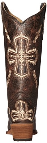 Corral Womens Circle G Crackle / Bone Cross Embroidery Square Toe Western Boots Brown