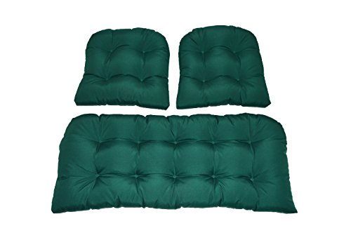 Resort Spa Home Decor 3 Piece Wicker Cushion Set – Solid Hunter Green Indoor Outdoor Fabric Cushion for Wicker Loveseat Settee 2 Matching Chair Cushions