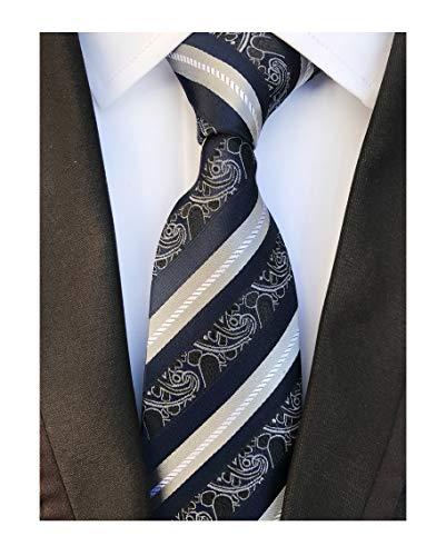 Black Navy Grey White Silk Tie Formal Dress Necktie Decent Holiday Gifts for men ()