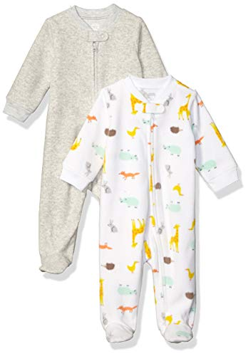 Amazon Essentials Baby 2-Pack Microfleece Sleep and Play, Multi Animal, 3-6M