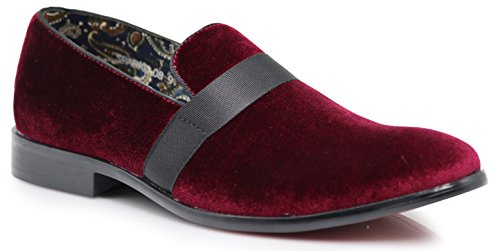 (SPK03 Men's Vintage Plain Velvet Dress Loafers Slip On Shoes Classic Tuxedo Dress Shoes (8 D(M) US, Burgundy (08)))