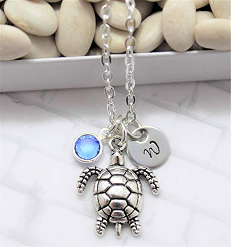 (Sea Turtle Necklace - Turtle Jewelry - Turtle Gift for Women & Girls - Personalized Birthstone & Initial - Fast)