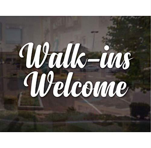 WDMing Vinyl Sticker Walk-Ins Welcome Decal Elegant Sign Salon Window Door Fancy Script Business Sign 27X57Cm
