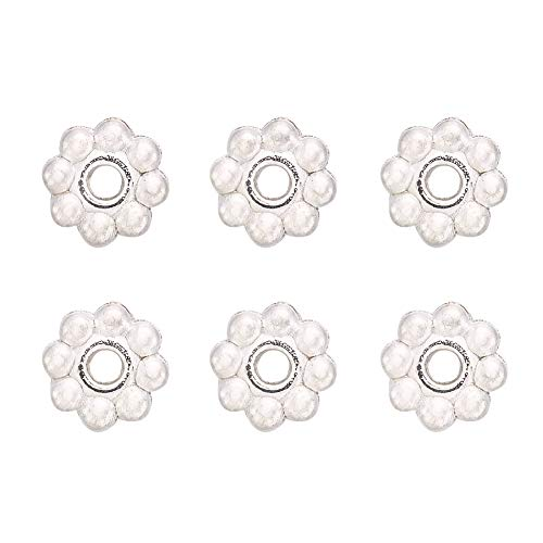 (Craftdady 300Pcs Silver Daisy Flower Alloy Spacer Beads 5x1.5mm Metal Snowflake Charm Beads for DIY Jewelry Craft Making)