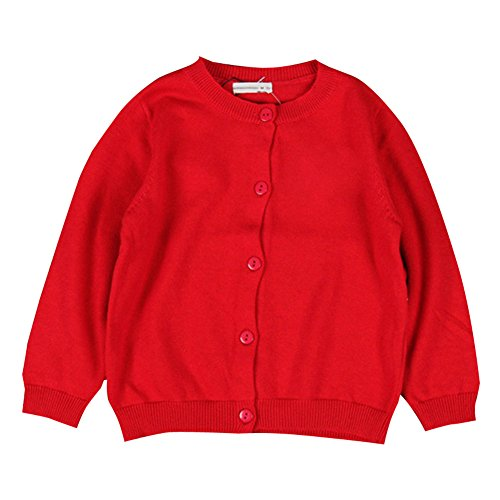 XUNYU Baby Girls 1-5T Cotton Knits Cardigan Button Sweaters Coat Jacket Outerwear,Red,S(18-24 (Toddler Girls Red Sweater)