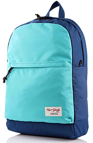 HotStyle 969s Cute School Backpack | Unisex | Holds 15-inch Laptop - Navy/Aqua