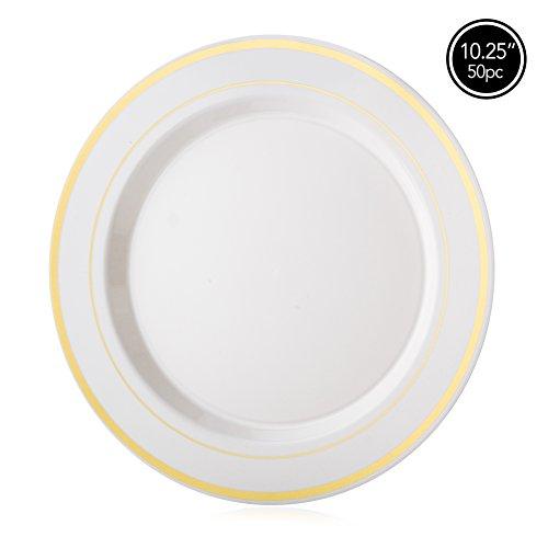 Elite Selection Pack of 50 Dinner Plates Ivory - Heavy Plastic Dinner Plates