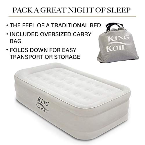 King Koil Twin Size Upgraded Luxury Raised Air Mattress Best Inflatable Airbed with Built-in Pump - Elevated Raised Air Mattress Quilt Top & ONLY Bed with 1-Year Guarantee
