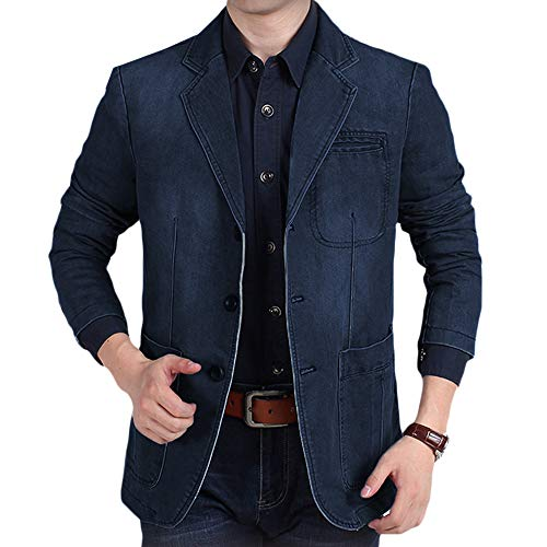 INVACHI Men's Causal Denim Blazer Jacket Slim Fit Distressed Jeans Suit Coat