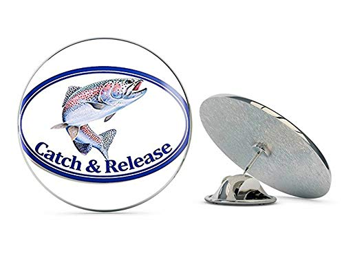 "NYC Jewelers Oval Rainbow Trout Catch and Release (Fish Fishing) Metal 0.75"" Lapel Hat Pin Tie Tack Pinback"