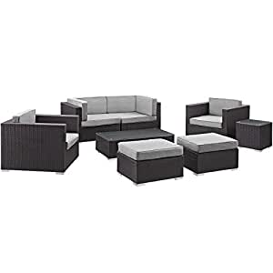 LexMod 8 Piece Convene 1 Loveseat Outdoor Patio Sectional Set, Espresso Gray