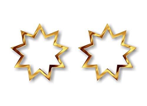 2 Liquid Gold Effect Print Baha'I Religious Symbol Decal Sticker Bahai Faith Nine Point Star Vinyl Vehicle Religion Decals Stickers (Baha'I - Gold)