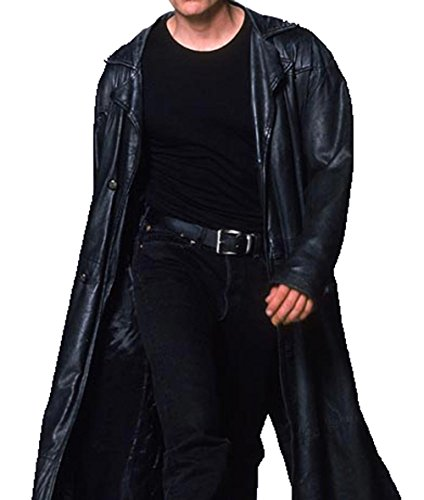 The Vampire Slayer Spike Buffy Black Learther Trench Coat 2XL (Leather Trench Mens Long Coat)