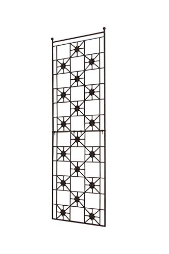 (H Potter 5.5 Foot Tall Garden Flower Trellis Wrought Iron Heavy Scroll Metal Decoration Lawn, Patio & Wall Decor Screen for Rose, Clematis, Ivy Patio Deck Wall Art)