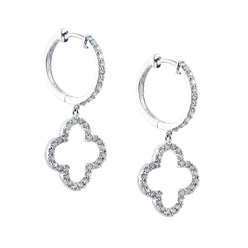Diamond Wish 14k White Gold Clover Shaped Pave Diamond Dangle Earrings (2/5cttw, O.White, I1-I2)