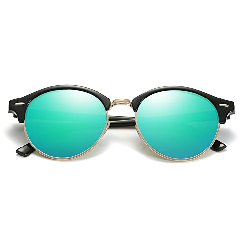ZHILE Round Clubmaster Sunglasses Polarized for Men and Women (Green mirrored lens, 53 (Single - Mirrored Clubmaster Sunglasses