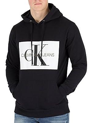 Calvin Klein Jeans Men's Monogram Box Pullover Hoodie, Black
