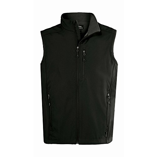 Landway Men's Water Resistant Bonded Soft Shell Vest, Black, Medium (Bonded Fleece Outerwear)