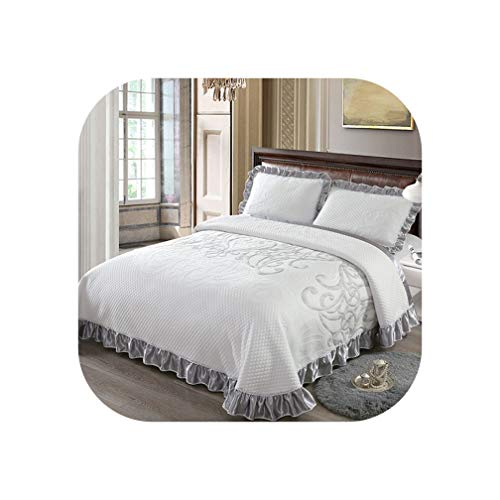Gray White Luxury 3D European Style Comfortable Soft Cotton Thick Blanket Lace Bedspread Bed Sheet Pillowcases 3pcs,8,230X245cm 3pcs