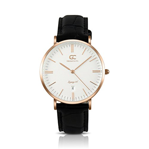 Gelfand & Co. Murray 36mm Unisex Rose Gold with White Dial Black Crocodile Leather Minimalist Watch