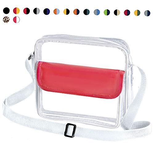 CORJENT Clear Crossbody NFL/NCAA/NHL/PGA/MLB Team Colors Stadium and Concert Venue Approved Purse & Messenger Bag w/Adjustable Strap (Coral)
