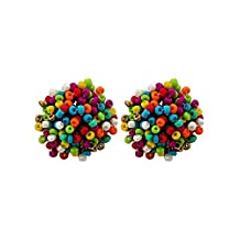 2Chique Boutique Women's Multicolored Acrylic Seed Bead Button Earring Set