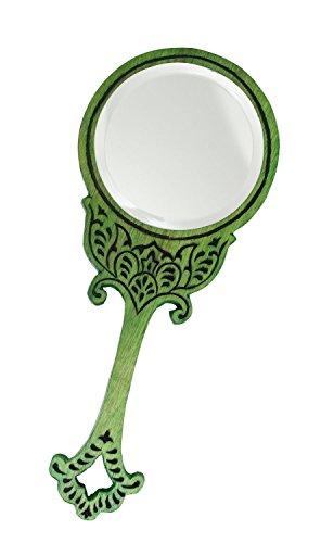 Vintage Style Деревянный ручной круглое зеркало, декоративные Мода Красота Аксессуары