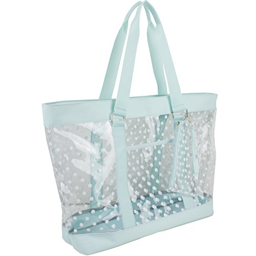- Eastsport Supreme Deluxe 100% Clear PVC Printed Large Beach Tote with Free Large Wristlet, Icy Blue with Dots